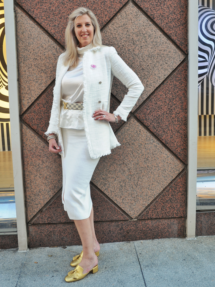 "Dr. Rebecca Metzinger of New Orleans, in town for an ophthalmology conference, stepped out wearing a mix of Chanel, Christian Louboutin and Yves Saint Laurent. How she describes her style: ""Clean lines. Simple and elegant. ... I'm tall, anyway, so I feel like I can wear a lot of things."""