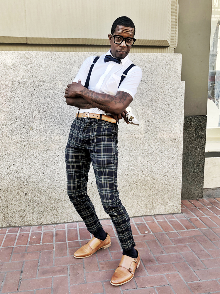 """Cinque, San Francisco to the core, was on his way somewhere with purpose when we flagged him down. Describing his style as """"pure SF,"""" he did make time for a few shots. We loved his shoes (of unknown origins) and his slim fit, sharp look."""