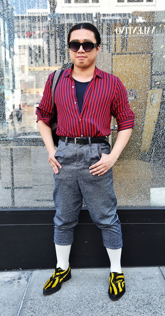 "Ricky Zhang is from San Francisco, and we feel like we've seen him around — no surprise, given his sharp sense of style. Outstanding striped felt shoes anchor this look, which he describes simply as ""quaint.""   Shirt and pants: consignment; Shoes: John Fluevog."