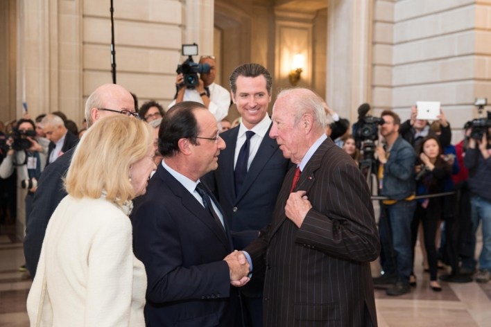 Charlotte and George Shultz, with Governor Gavin Newsom and French President François Hollande