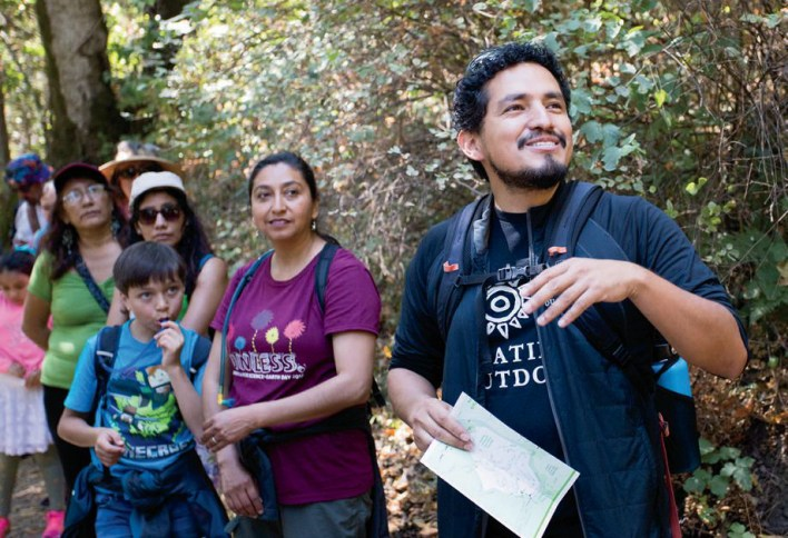 José González leads a Latino Outdoors hike (in collaboration with the Latino Community Foundation) through Redwood City's Edgewood Park & Natural Preserve.