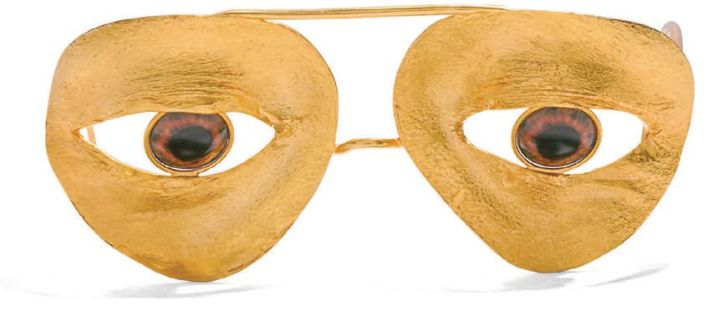 Aviator Eye Glasses (3,700€ or approximately $4,500) in gilded brass with trompe l'oeil sweet honey-brown eyes from Schiaparelli