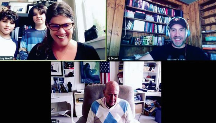 Silver Screen Studios' Tiffany Woolf (shown at right with her sons) and Noam Dromi (far right) connect with comedy legend Carl Reiner via Zoom for last year's Dispatches From Quarantine series.