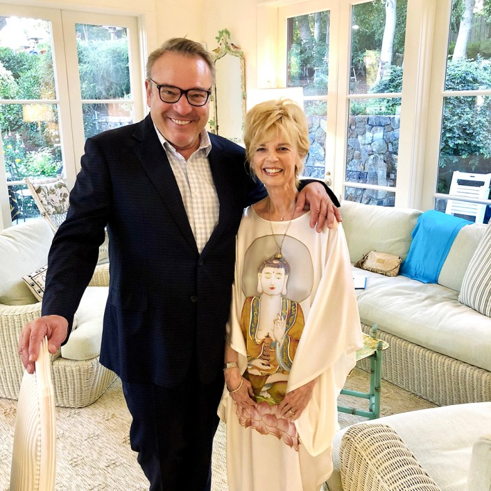 Carol Simone with her longtime friend Stanlee Gatti in 2018 at the Stanford University home of the late George Shultz.