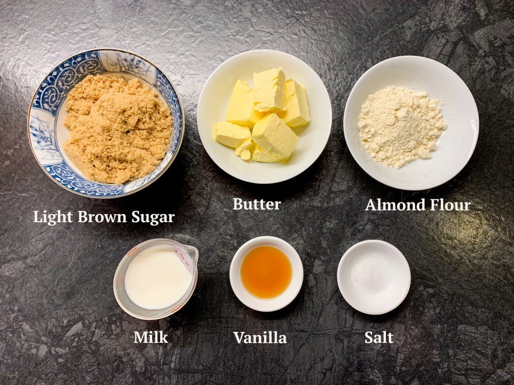 ingredients for lace cookies are light brown sugar, butter, almond flour, milk, vanilla and salt.