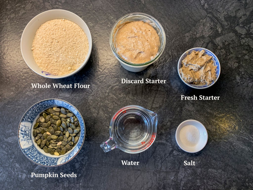 Ingredients for a Sourdough Discard Bread