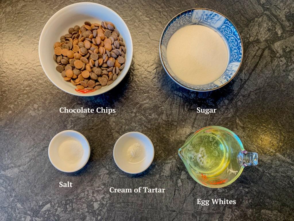 Ingredients for Chocolate Chip Meringue Cookies