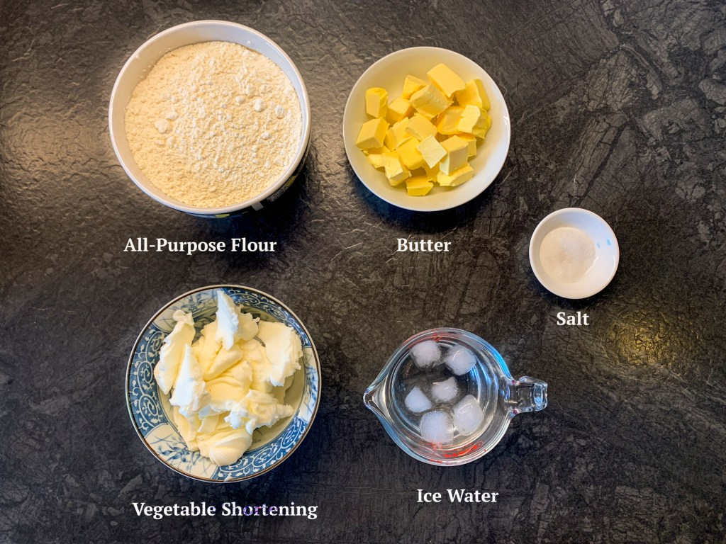 Ingredients for a Homemade flaky pie crust
