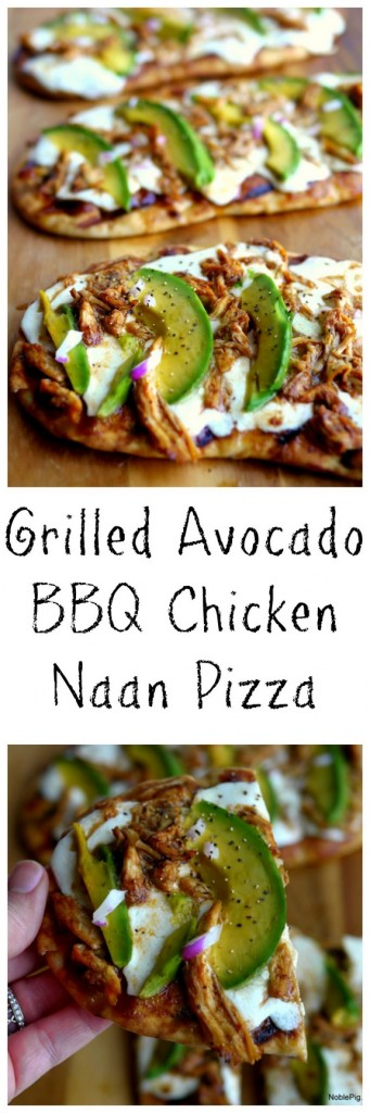 Grilled Avocado Barbecue Chicken Naan Pizza VIDEO