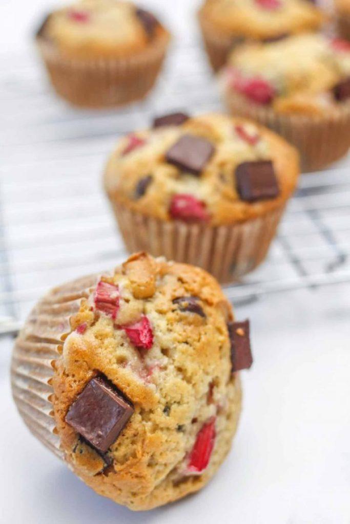 Rhubarb and Chocolate Muffins