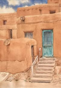 Taos Blue Door Watercolor