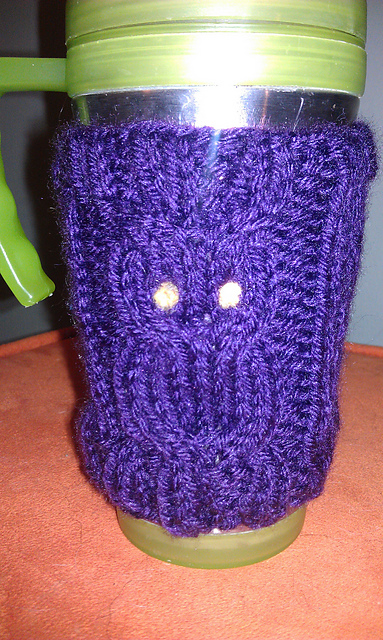 Owl Cable Knit Coffee Cozy