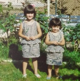 My sister Elodie and I in our grand-parents garden