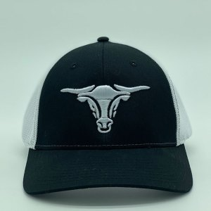 black hat with white bull and white mesh back