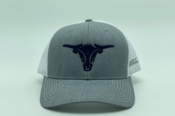 Gray hat with navy puff bullhead and white mesh back