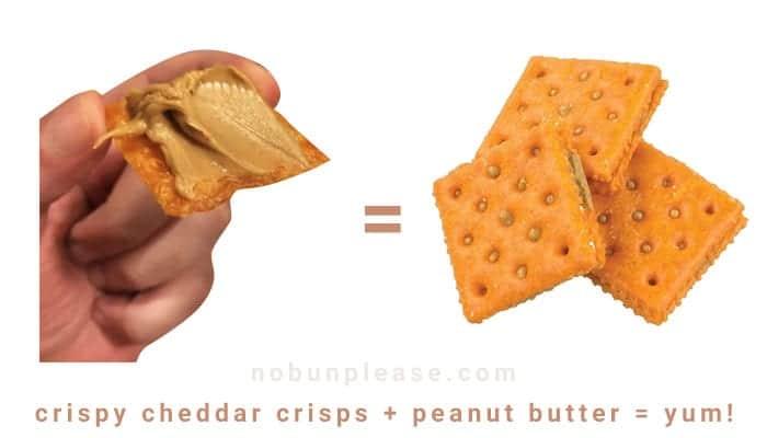 Keto Snack: Crispy Cheddar Crisps with Peanut Butter