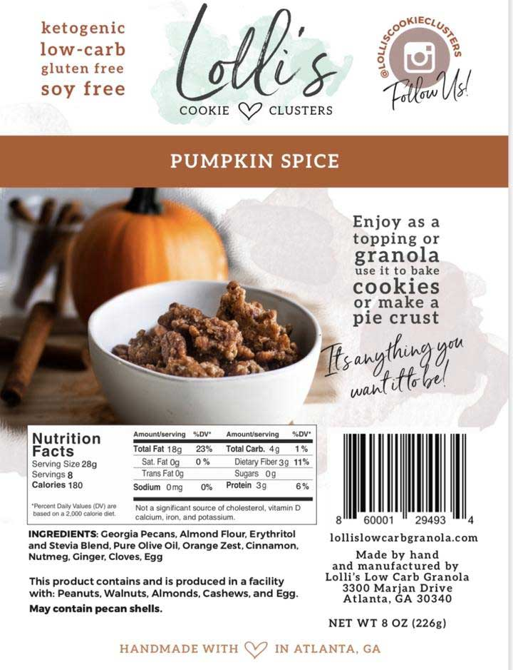 Lolli's Pumpkin Cookie Clusters Nutrition
