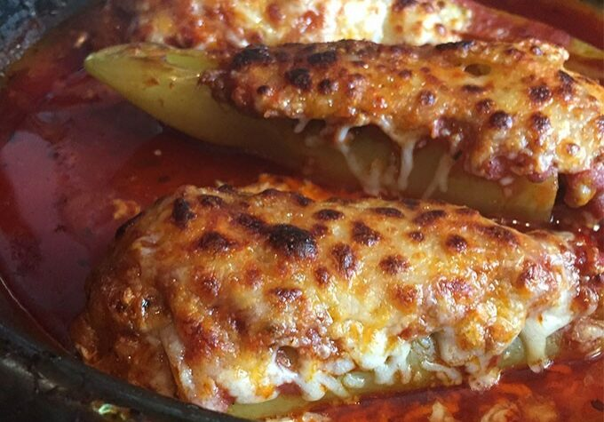 Hot Sausage Stuffed Banana Peppers