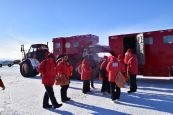 Getting onto the beast of a truck that drove us back from Pegasus airfield on the ice shelf to McMurdo Station