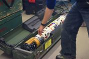 Unpacking SCINI, our submarine's predecessor, which will be used as a scout for Icefin's (our sub's) dives