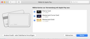 Zu aktivierende Kreditkarte auswählen