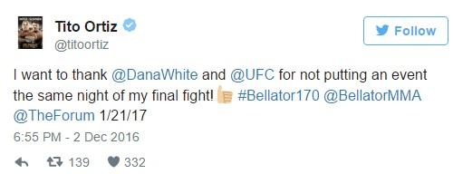 """Tweet de Tito Ortiz """"agradecendo"""" o UFC e Dana White por não realizarem eventos no mesmo dia de seu último combate. (Foto: Twitter @TitoOrtiz)"""