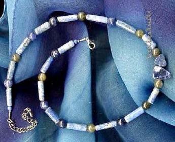 Edelsteine Sodalit, Lapislazuli und Labradorit als Halskette