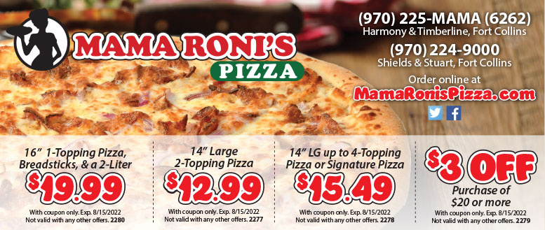 Mama Roni's Pizza Coupons - $4 Off or 2 Free Rolls