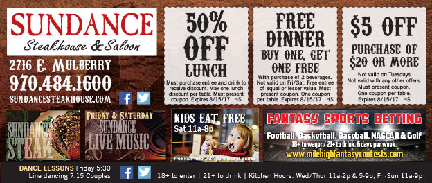 Sundance Steakhouse Coupons