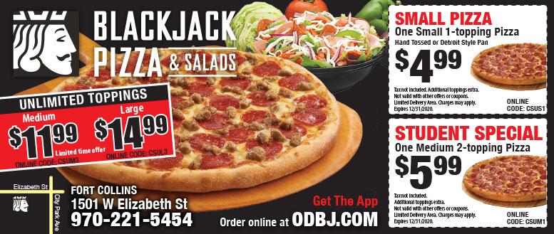 Blackjack Pizza & Salads Student Specials Coupons Fort Collins