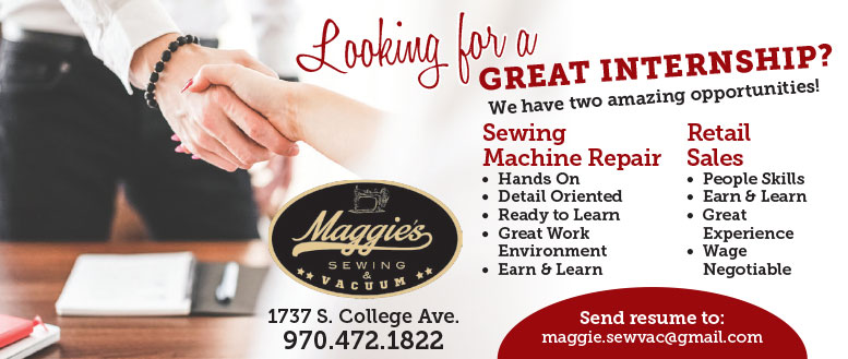 Maggie' Sewing & Vacuum is Looking for two Interns