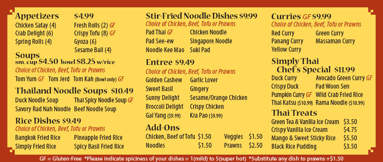 Simply Thai Restaurant Menu & Prices