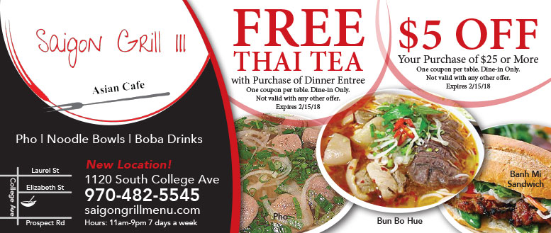 Saigon Grill Asian Cafe Coupon Deals in Fort Collins