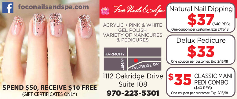 foco Nails & Spa Coupons in Fort Collins - $5 Off Classic Manicure, Pedicure