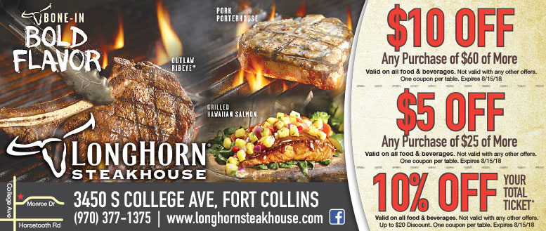Longhorn Steakhouse coupons in Fort Collins - Up to $10 Off
