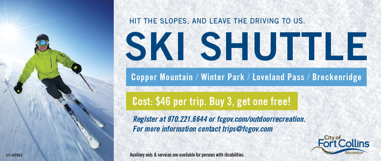 City of Fort Collins Ski Shuttle - Buy 3 Trips, Get One Free!