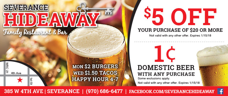 Severance Hideaway Family Restaurant & Bar - Food & Beer Coupon Deals