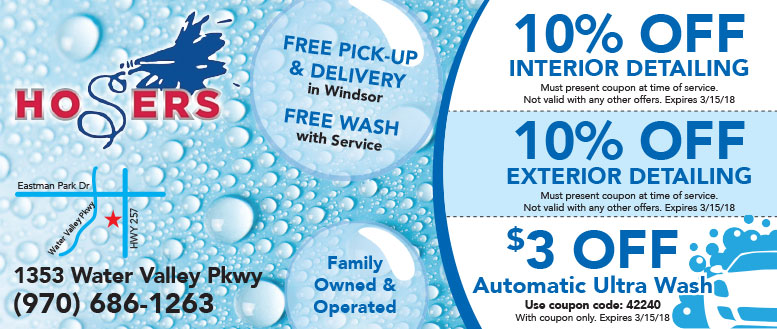 Hosers Car Wash and Detailing Services Coupons in Windsor, CO
