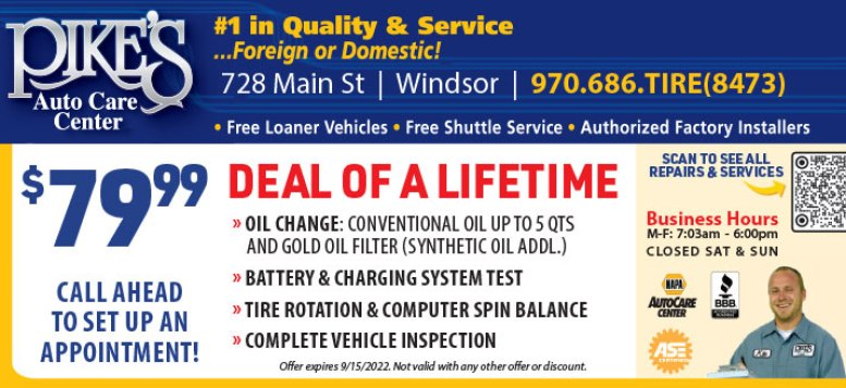 Pikes Auto Care Service Center in Windsor, CO - Oil Change, Tire Rotation & Balance Coupon Deal