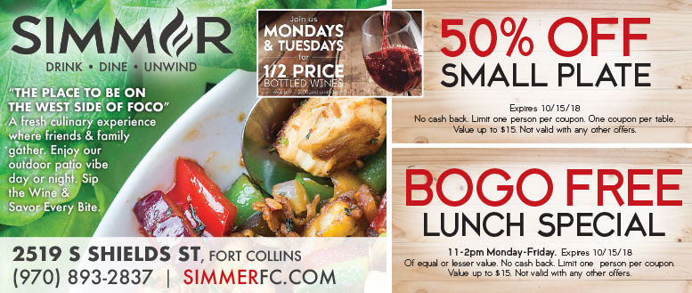 Simmer Restaurant in Fort Collins - BOGO Lunch or $50 Off Small Plate Coupon Deals