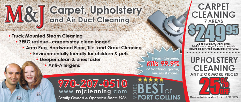 M&J Carpet and Upholstery Cleaning Coupon Deals in Fort Collins