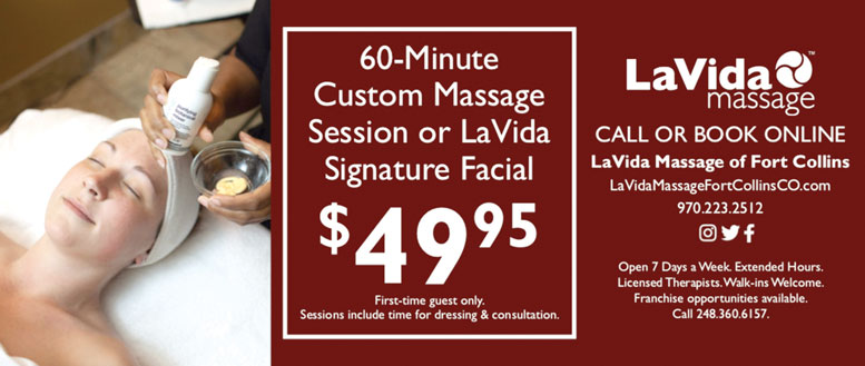 LaVida Massage Coupon Deals in Fort Collins - 60 Minute Massage or Facial only $49.95