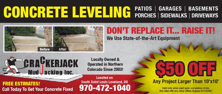 Crackerjack Mudjacking - $50 Off Concrete Repair Coupon Deal