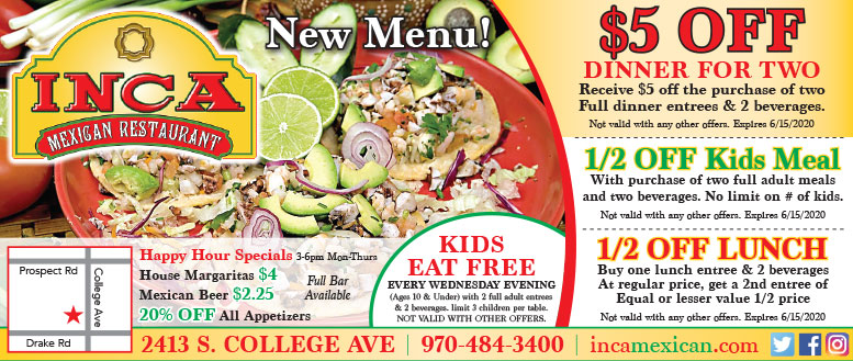 Inca Mexican Restaurant Coupon Deals - 50% Off Lunch or $5 Dinner for Two