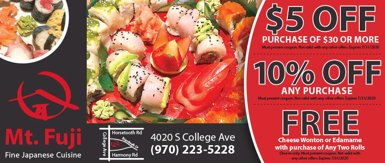 Mt. Fuji Japanese Sushi Coupons Fort Collins - 10% Off & Free Dessert