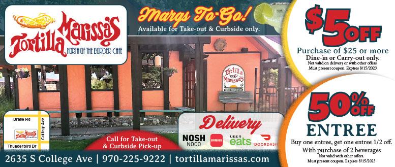 Tortilla Marissa's Mexican Restaurant - Free Margarita Margarita or Half Off Entree