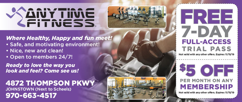 Anytime Fitness Coupon Deals in Johnstown, near Fort Collins, CO