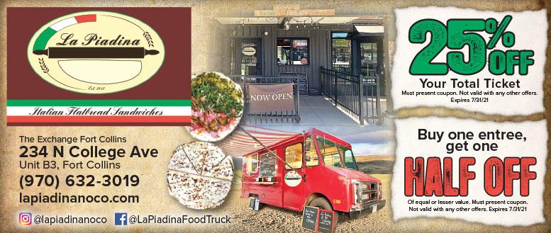 La Piadina, Fort Collins, NoCo - Italian Flatbread Coupon Deals