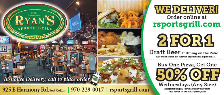 Ryan's Sports Grill, Fort Collins - Food and Drinks Coupon Deals
