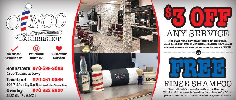 Cinco Brothers Barbershop Coupons Deals, Johnstown, Loveland & Greeley, NoCo